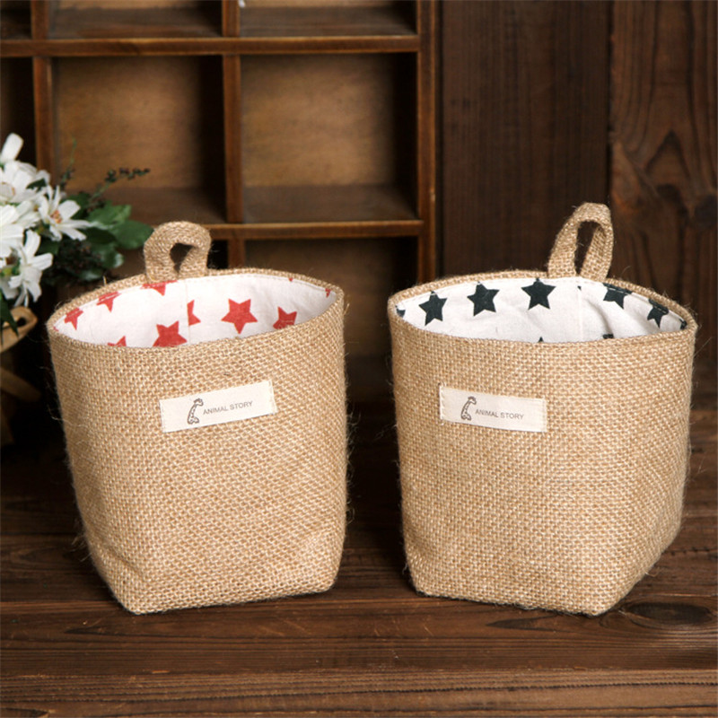 Non Woven Basket : Small storage sack cloth hanging non woven basket