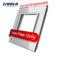 Livolo Luxury Crystal Glass, 80mm*80mm, EU standard, Single Glass Panel For Socket,4 color