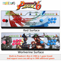 Pandora's Box 6 1300 in 1 family version arcade joystick led button kit arcade 2 players can add 3000 games usb joystick for pc