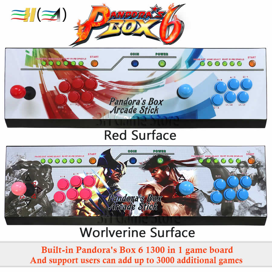 Pandora's Box 6 <font><b>1300</b></font> in <font><b>1</b></font> family version arcade joystick led button kit arcade <font><b>2</b></font> players can add 3000 games usb joystick for pc image