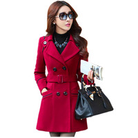 2016 Winter Coat For Women Solid Double Breasted Wool Coats Long Style Slim Outerwear With Belt