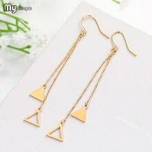 My Shape Trendy Stainless Steel Long Tassel Fringed Draped Ear Chain Triangle Pendant Women Drop Dangle Earrings