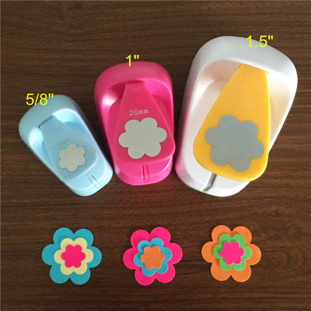 3 pçs (16mm, 25mm, 38mm) forma de flor artesanato conjunto perfurador crianças manual flores buraco socos corte de papel de scrapbook petal punch
