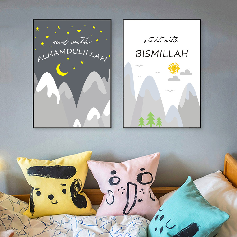 Mountains Canvas Painting Cartoon Poster Print Art Wall Posters Kids Bedrooms Nursery Nordic Poste Unframed