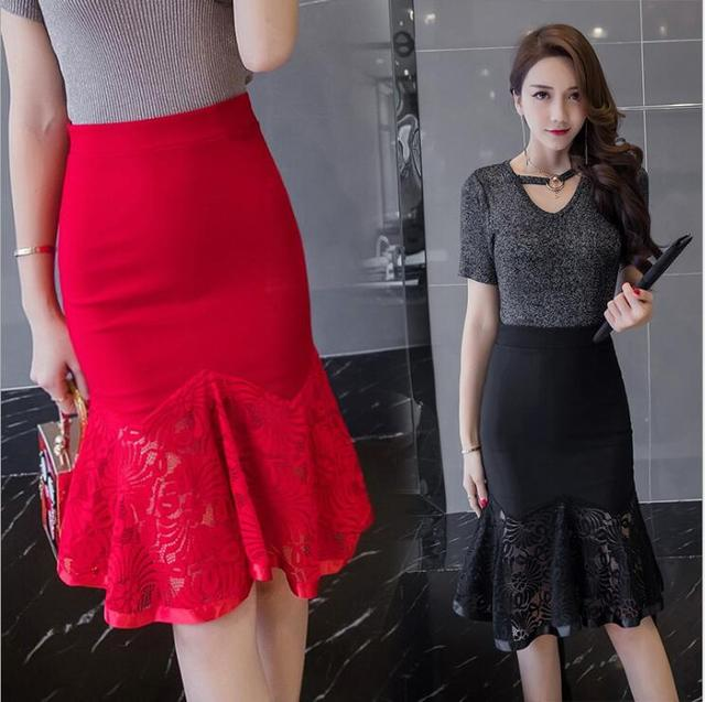c2a50b090 2019 Summer Office Ladies High Waist Trumpet Skirt Sexy Lace Skirts Black  Red Knee-Length Fishtail Skirt Female