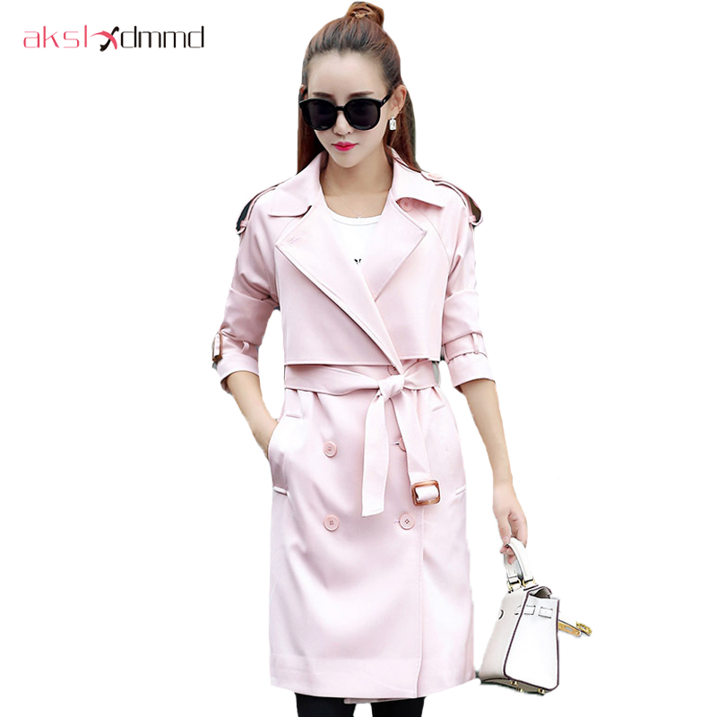 AKSLXDMMD Autumn 2019 Women's   Trench   Coat And Windbreaker Coat Casual Solid Color Button Decoration Long Ladies Loats YR144