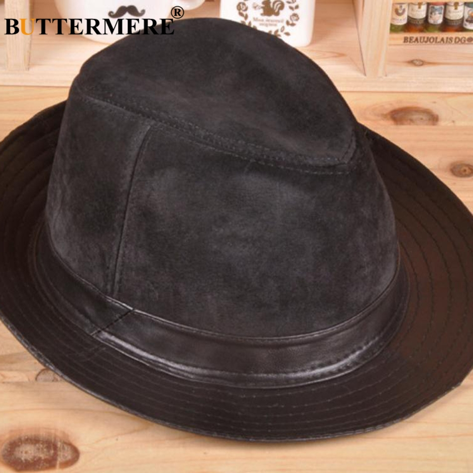 BUTTERMERE Wide Brim Fedora For Men Black Trilby Hat Male Genuine Leather  Casual Jazz Caps Autumn Winter Fashion Pork Pie Hats-in Fedoras from  Apparel ... d25d32b0d9a2