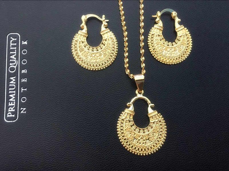 دبي الهند الذهب النساء الزفاف gfirls قلادة أقراط قلادة مجموعات مجوهرات النيجيري الأفريقي إثيوبيا حزب charms بها بنفسك charms هدية