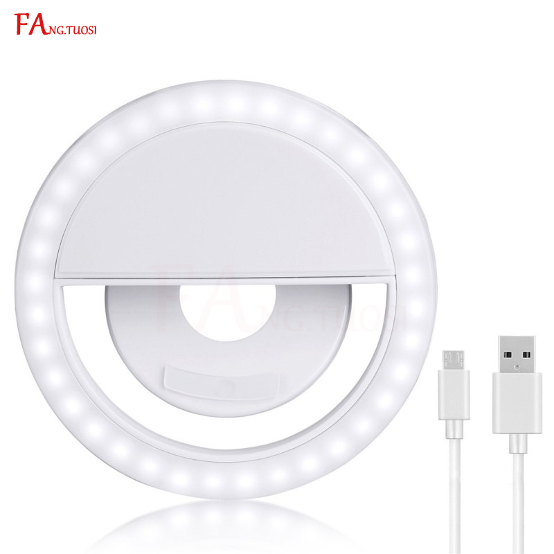 FANGTUOSI LED Selfie Ring Light for Iphone Photography Enhancing USB charge Led Camera phone Selfie ring light clip for samsung original xiaomi led phone light for photograph external selfie