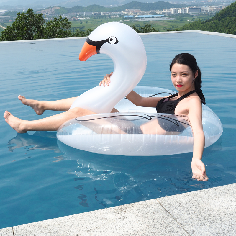 110cm Giant Feather Rose Gold Flamingo Swimming Ring 2018 Newest Pearl White Swan Pool Float Air Mattress Water Outdoor Toy boia in Swimming Rings from Sports Entertainment