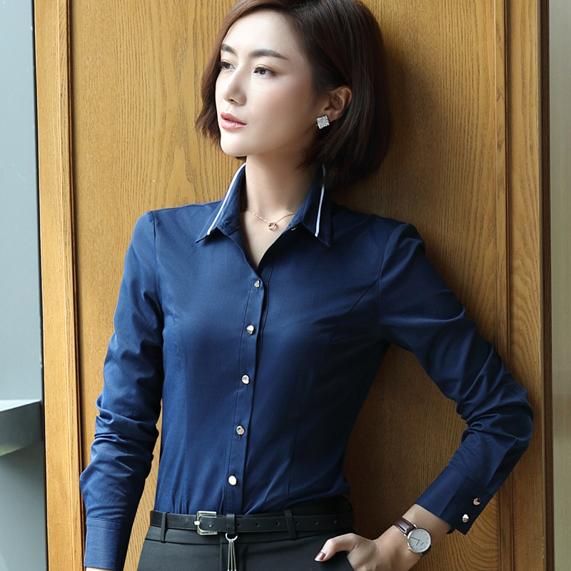 Women Clothing Long Sleeve Slim Shirt Autumn Formal Blusa Stand Collar Chiffon Blouses Office Ladies Tops Work Wear White Blouse