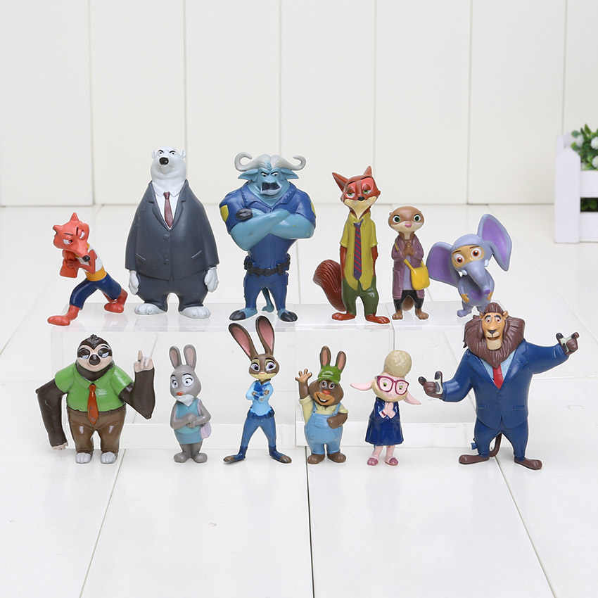 12 pcs Filme Zootopia Figuras Set Raposa Nick Coelho Judy Hopps Slothmore Personagens Dos Desenhos Animados do Flash Pvc Action Figure