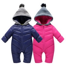 Высокое Качество Baby Rompers Зима babys Мальчики верхняя одежда Девушки Теплая Одежда Дети Комбинезон Ребенка утка вниз ползет одежда 0-24 М