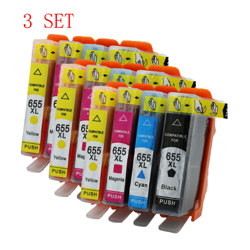 3 Set hp 655 XL hp655 655XL compatible ink cartridge For HP Deskjet 3525 4615 4625 5525 6520 6525 Printer with chip Full ink compatible ciss for hp655 hp 655 for hp deskjet 4615 4625 3525 5525 with ink level chip