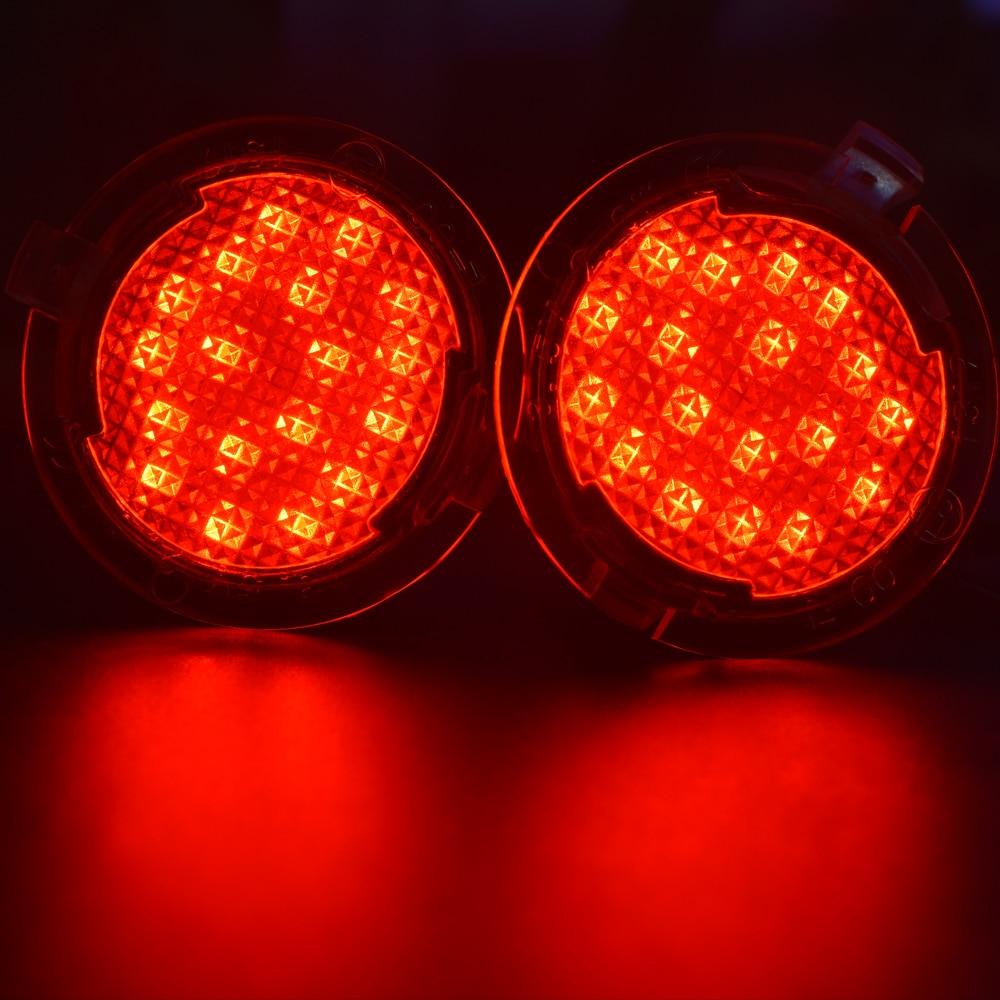 פורד 2pcs רכב LED תחת מראה עגולה שלולית אור פורד אדג מונדיאו Mk5 Fusion Gen 2 Flex SEL Explorer אוורסט משלחת שור (4)