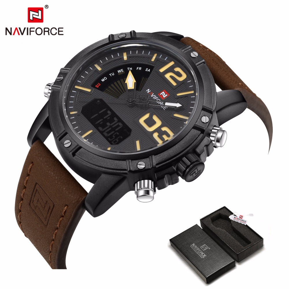 NAVIFORCE 2017 Brand Men's Fashion Sport Quartz Watch LED Clock Male Leather Belt Waterproof Watch men Digital Relogio Masculino splendid brand new boys girls students time clock electronic digital lcd wrist sport watch
