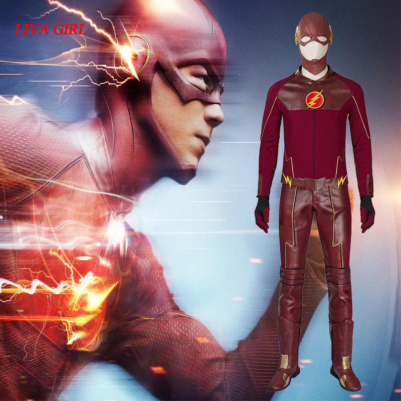 <font><b>The</b></font> <font><b>Flash</b></font> <font><b>Cosplay</b></font> Costume Barry Allen Suit <font><b>The</b></font> <font><b>Flash</b></font> Season 2 Barry Allen Costume Superhero Outfit <font><b>With</b></font> <font><b>Boots</b></font> Adult Men Tailored image