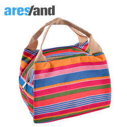 Aresland 2017 multifunctional stripes insulated cold canvas zipper picnic totes carry case thermal portable lunch bag.jpg 250x250