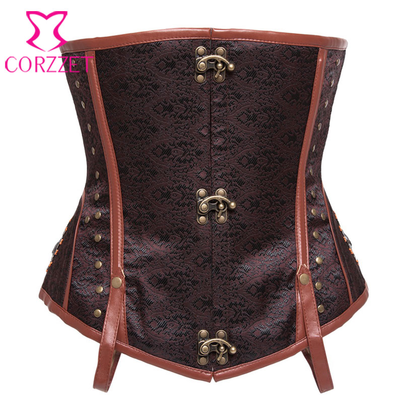 Brown Brocade Steel Boned   Corsets   and   Bustiers   Plus Size   Corset   Underbust Steampunk Clothing Burlesque Cosplay Gothic Corselet