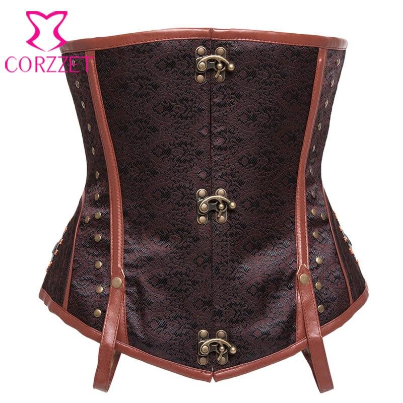 dc39efb0f3 Brown Steel Bone Waist Trainer Underbust Waist Trainer Corsets Steampunk  Corselet Plus Size Corset Burlesque Costumes For Women