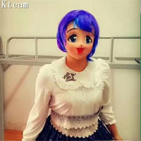 Latex Female Sweet Girl Half Face Kigurumi Mask With BJD Eyes cartoon Cosplay Japanese Anime Role Lolita Mask Crossdress Doll