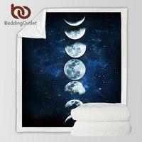 BeddingOutlet Eclipse Da Lua Mudando Cobertor de Veludo Cobertor Lance de Pelúcia Galaxy Impresso Sherpa para Sofá Paisagem Cama Lance