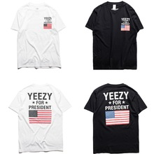 Brand clothing YEEZY T Shirt Men Yeezy For President Obama American Flag T-shirt Kanye West USA Yeezus Tees cdg play Shirt L069