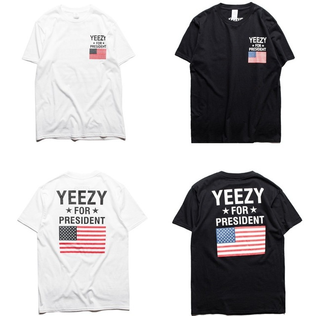 Roupas de marca YEEZY T Shirt Homens Yeezy Para O Presidente Obama Americano T-shirt da bandeira EUA Yeezus Kanye West T-shirt cdg jogar Camisa L069