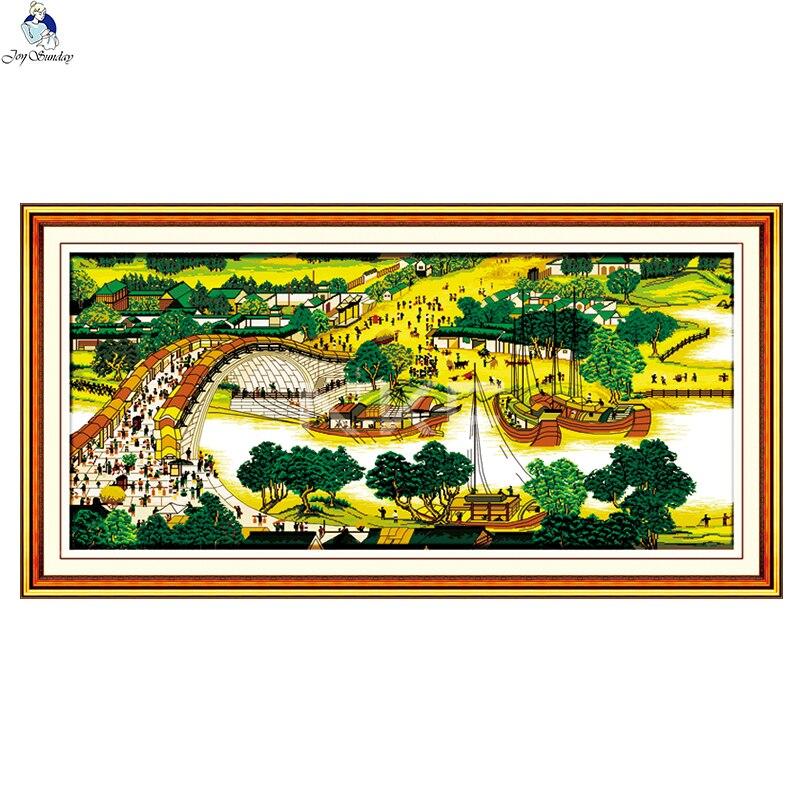 JoySunday Kits de point de croix ensemble de couture scène riveraine au Festival Qingming paysage 14CT 11CT coton peinture cadeau Art