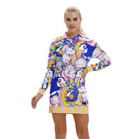 2018 New Fashion 3D Unicorn Printed Sweatshirt Dress Femmes Hoodies Women Kawaii Girls Loose Pattern Long Sweatshirts Drop Ship