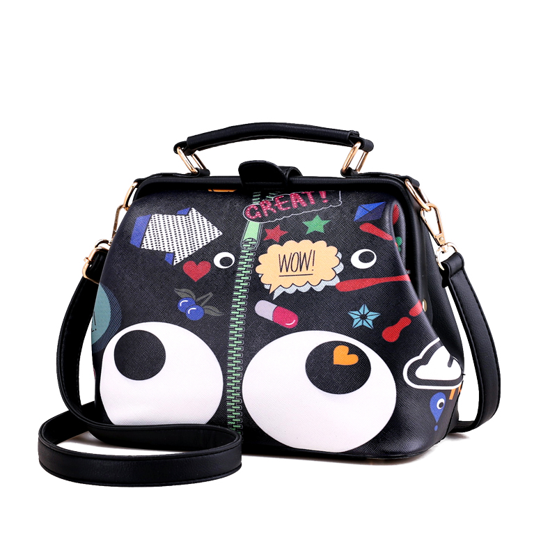 SJ Women Shoulder Bags Female Messenger Bag Handbags Totes Braccialini Brand Style Handicraft Art Cartoon Big Eyes
