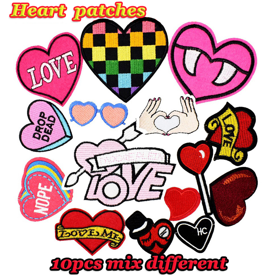 Diy hearts patches random for clothing iron embroidered for Random diys