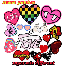 Diy hearts patches random for clothing iron embroidered patch applique iron on patches sewing accessories badge on clothes bag