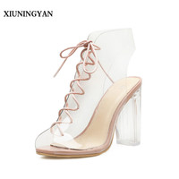 XIUNINGYAN Summer Sandals Transparent Gladiator Sandals Lace Up Sexy Peep Toe Shoes Clear Chunky Heels Women