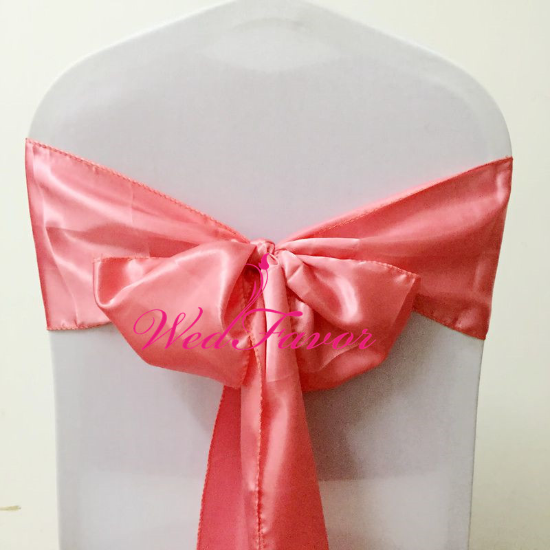 WedFavor 100pcs Coral Satin Chair Cover Sashes Wedding Chair Ribbon Bows Butterfly Ties For Party Event