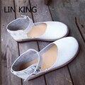 LIN KINGNew Vintage Women Casual Sólidos Zapatos de Hebilla de Zapatos de Los Planos Lolita dulce Gruesa Suela Zapatos de Correa de Tobillo Punta Redonda Única zapatos