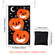 Pumpkin Hanging Polyester Banner With 3 Bean Bags Halloween