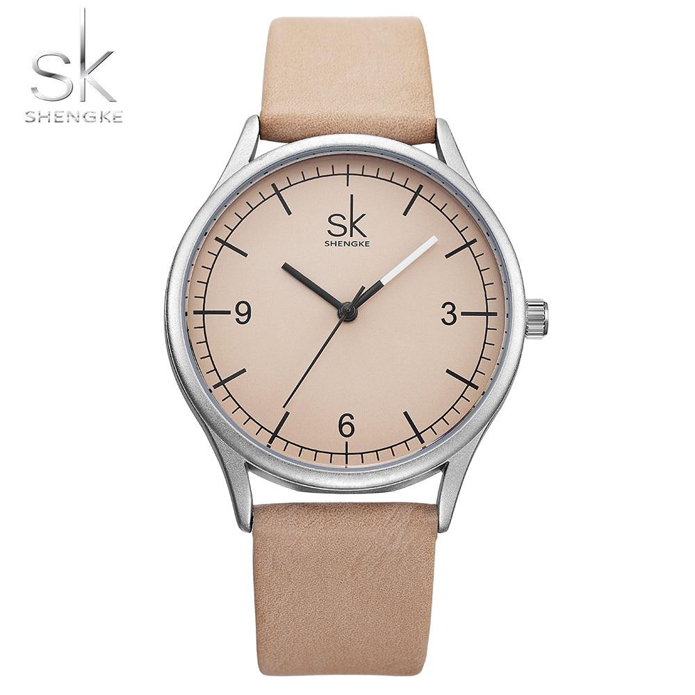 Shengke Top Brand Quartz Watch Women Casual Fashion Japan Movement Leather Analog Wrist Watch Minimalist Designer Relogio Gift