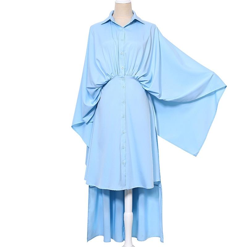 Jq338 Pièces souris Chemise Personnalité Style Deux Robe blue Chauve Nu Printemps Dos Street Manches Black Unie Femelle white Asymétrique Couleur Faux 18T5qAx