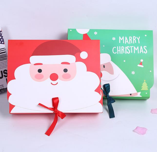 Unique Christmas Eve Big Gift Box Santa & Fairy Design Papercard Kraft Present Party Favour Activity Box red green
