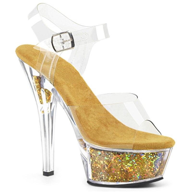 모델 하이힐 여성 여름 파인 힐 15 cm 샌들, 쇼 두꺼운 바닥 재미있는 호스팅 크리스탈 샌들-에서하이힐부터 신발 의  그룹 1