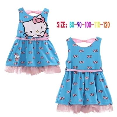 Las muchachas del bebé vestido nuevo 2016 Fille Enfan hello kitty imprimir vestido sin mangas con la correa embroma la ropa del verano beach Dress casual