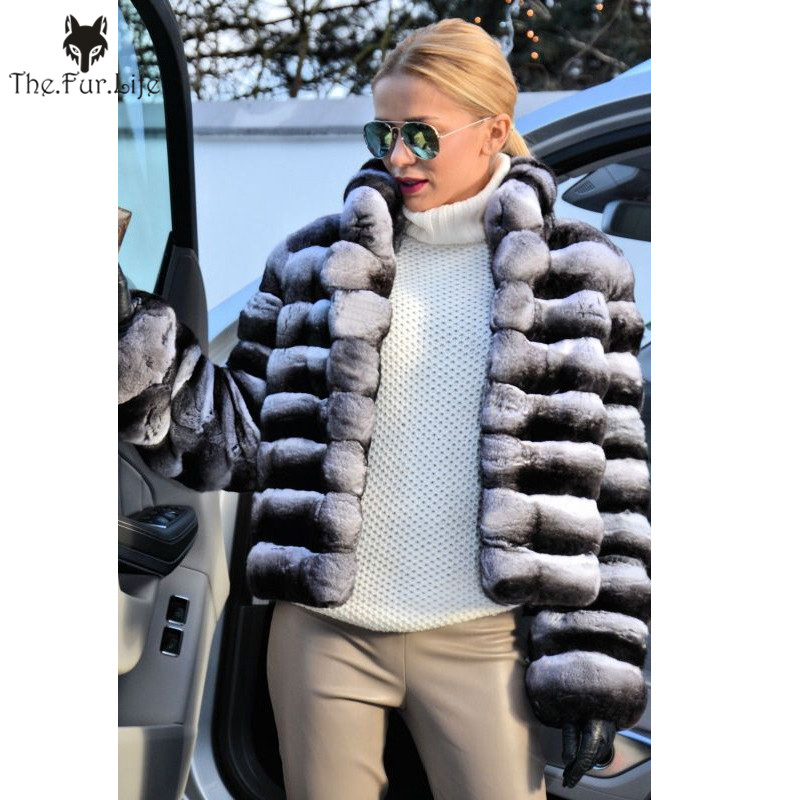 Fashion Style Real Fur Chinchilla Rex Rabbit Fur Coats Long Coats For Women Warm Thick Turn-down Collar Fur Jackets And Coats