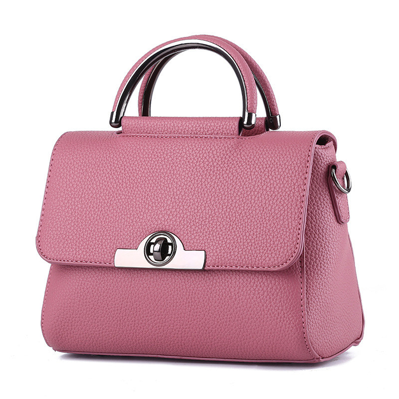 Fashion Cusual PU Women Handbag Dark Pink Shoulder Bag Twist Turn Lock Crossbody Messenger цена