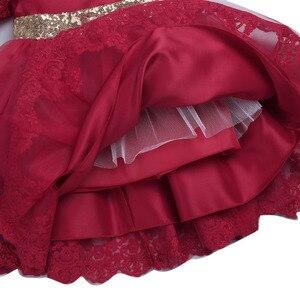 Image 5 - Yenidoğan bebek kızlar bordo çin tarzı işlemeli payetli ilmek Tutu sevimli elbise 1st doğum günü partisi İlk Communion elbise