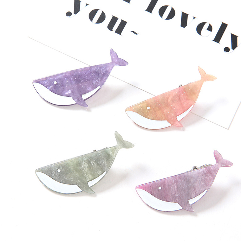 New Women Girls Cute Acetate Cartoon Whale Hair Clips Beautiful Colors Headwear Hairpins Barrettes Headbands Hair Accessories