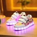 Crianças de 7 Cores USB Recarregável Flash LED Fluorescente Sapatos Tênis Meninas Meninos Sapatilhas Moda Sapatos Criança Sapato de Bolinhas