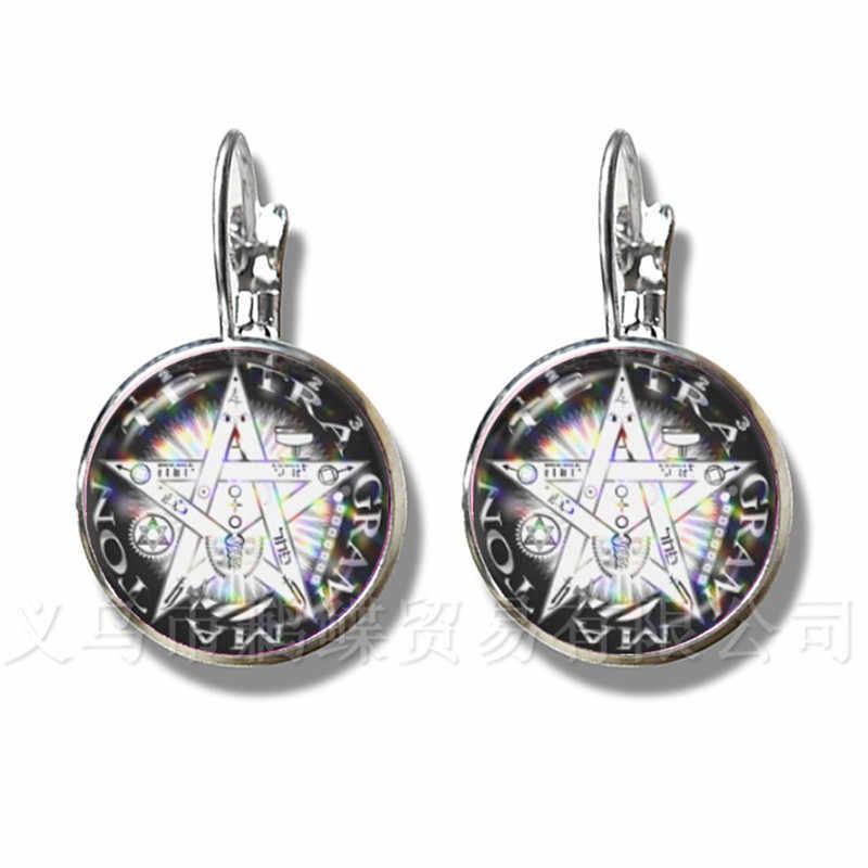 Satanic Pentagram Star Symbols массивные посеребренные серьги ручной работы для женщин девушек модные ювелирные изделия Pagan подарок