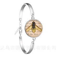 Bee Pattern Bracelet Insect Art Picture 18mm Glass Cabochon Dome Silver Plated Chain Bangle For Women Girls Creative Gift(China)