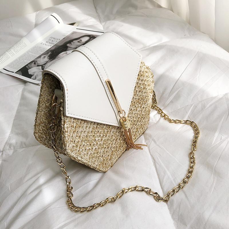 Hexagon Mulit Style Straw+leather Handbag Women Summer Rattan Bag Handmade Woven Beach Circle Bohemia Shoulder Bag New Fashion 21